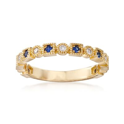 .13 ct. t.w. Diamond and .10 ct. t.w. Sapphire Milgrain Frame Ring in 14kt Yellow Gold, , default