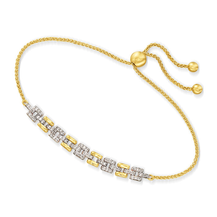 .25 ct. t.w. Diamond Link Bolo Bracelet in 18kt Gold Over Sterling