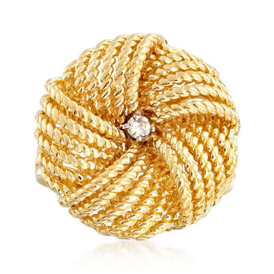 C. 1980 Vintage 18kt Yellow Gold Twisted-Rope Ring with Diamond Accent, , default