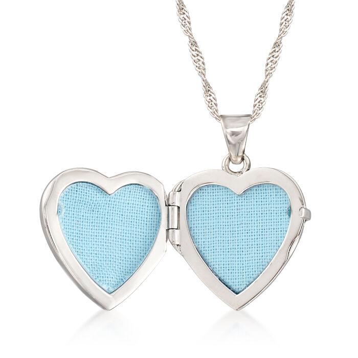 1.25 ct. t.w. CZ Heart Locket Necklace in Sterling Silver