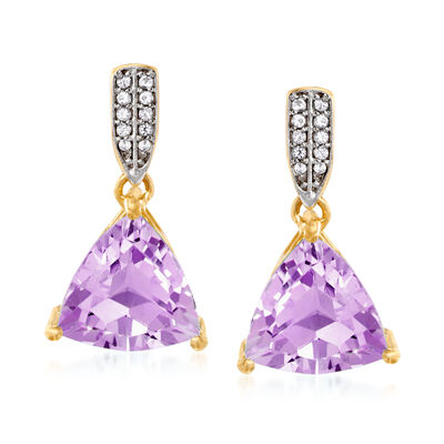 5.50 ct. t.w. Amethyst Drop Earrings with White Topaz Accents in 18kt Gold Over Sterling