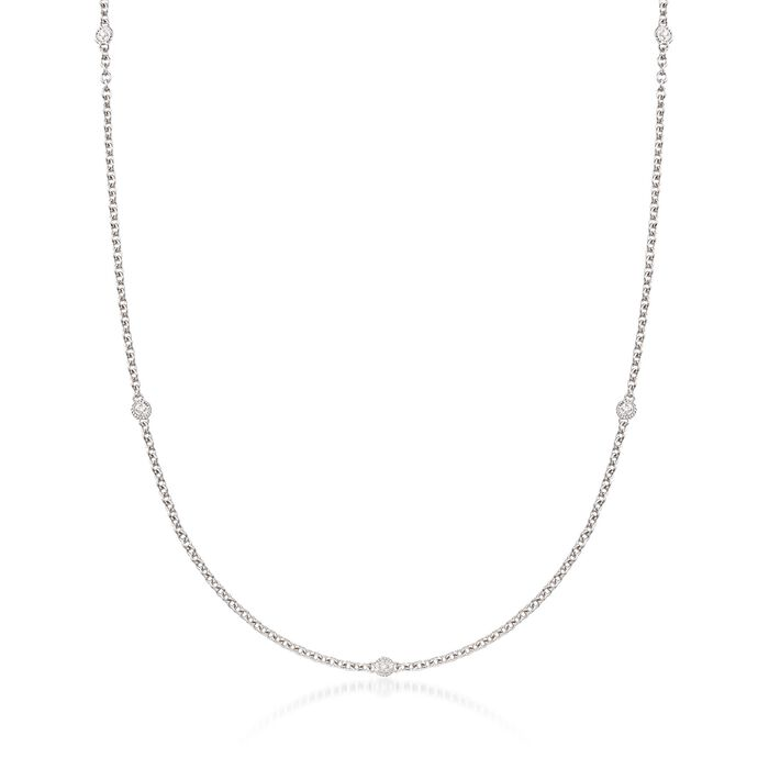 "Andrea Candela ""Enamorada"" Sterling Silver Station Necklace with Diamond Accents"
