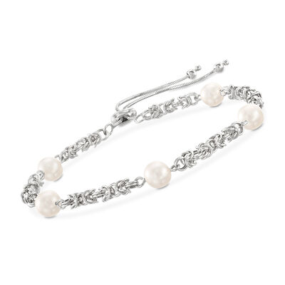 Cultured Pearl Byzantine Link Bolo Bracelet in Sterling Silver, , default