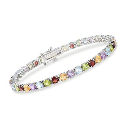 9.50 ct. t.w. Multi-Gem Tennis Bracelet in Sterling Silver