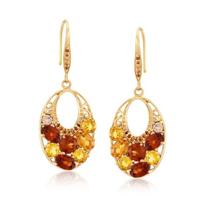 5.72 ct. t.w. Multi-Stone Oval Drop Earrings in 18kt Gold Over Sterling, , default