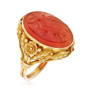 C. 1960 Vintage Bezel-Set Carved Red Carnelian Bird Ring in 14kt Yellow Gold. Size 5.75, , default
