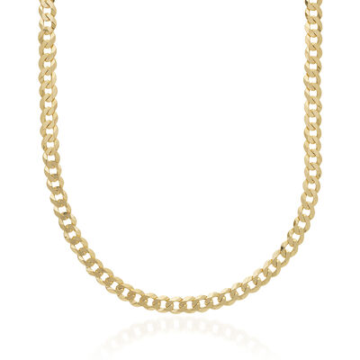 Men's 6.7mm 14kt Yellow Gold Curb Chain Necklace, , default