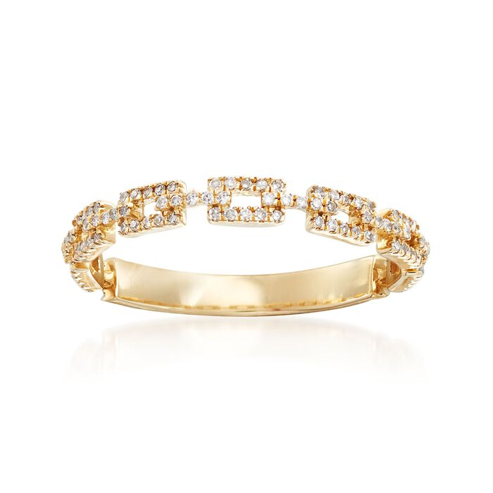 .17 ct. t.w. Diamond Rectangular-Link Ring in 14kt Yellow Gold, , default