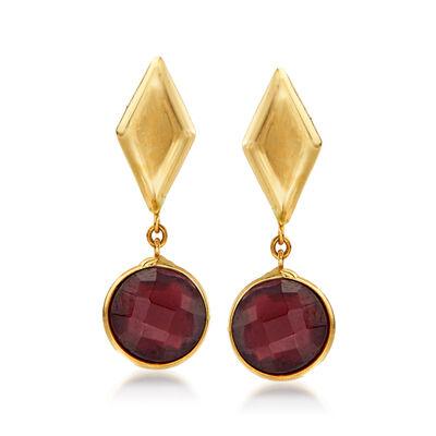 Italian 1.50 ct. t.w. Garnet Drop Earrings in 14kt Yellow Gold, , default