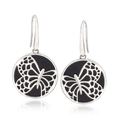 Black Onyx Butterfly Drop Earrings in Sterling Silver, , default