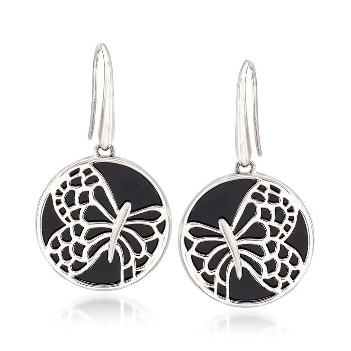 Black Onyx Butterfly Drop Earrings in Sterling Silver