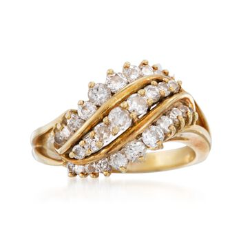 C. 1980 Vintage 1.30 ct. t.w. Diamond Three-Row Ring in 18kt Yellow Gold. Size 8.25, , default