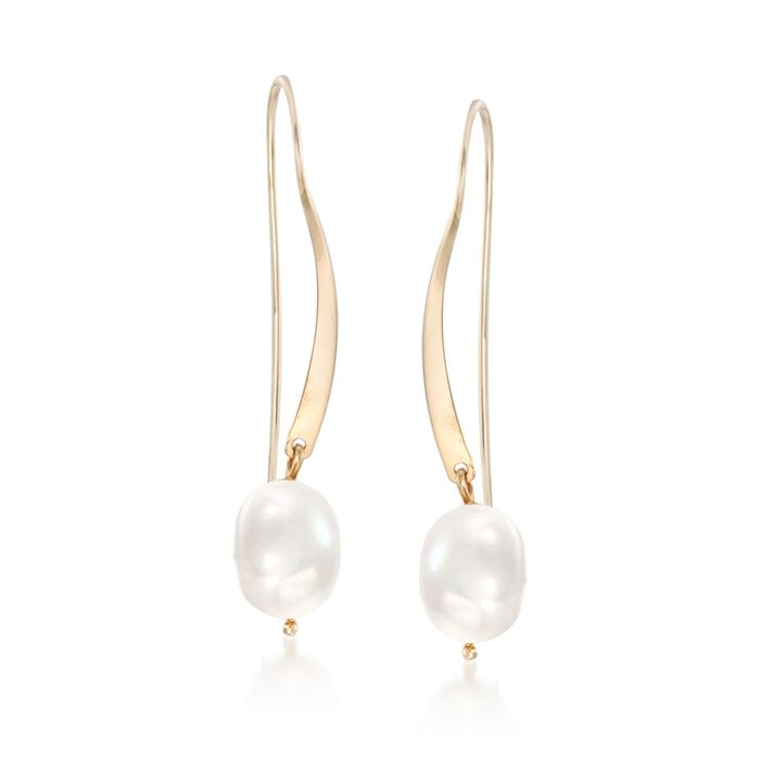 8mm Cultured Pearl Threader Earrings in 14kt Yellow Gold