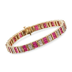 "C. 1990 Vintage 6.00 ct. t.w. Ruby and .65 ct. t.w. Diamond Section Bracelet in 14kt Yellow Gold. 7"", , default"