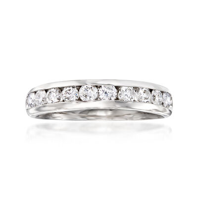 .75 ct. t.w. 10-Stone Diamond Wedding Ring in 14kt White Gold