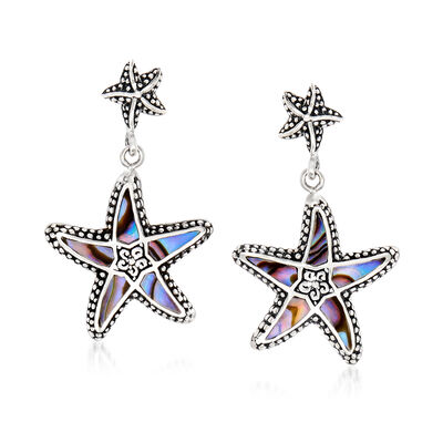 Abalone Shell Bali-Style Starfish Drop Earrings in Sterling Silver