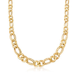 Italian 18kt Yellow Gold Double-Oval Link Necklace, , default