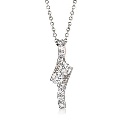 .70 ct. t.w. CZ Bypass Pendant Necklace in Sterling Silver, , default