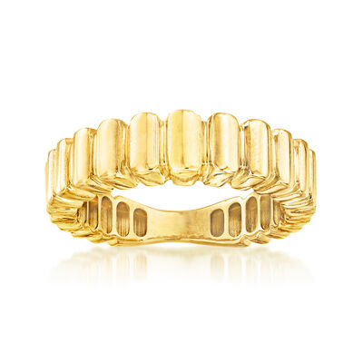 Italian 18kt Yellow Gold Ribbed Ring
