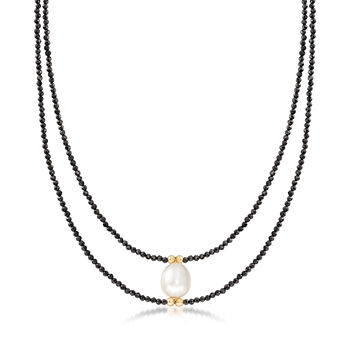 10-10.5mm Cultured Pearl and 30.00 ct. t.w. Black Spinel Bead Necklace in 14kt Yellow Gold