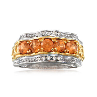 C. 1980 Vintage 1.50 ct. t.w. Spessartine Orange Garnet and .10 ct. t.w. Diamond Ring in 14kt White Gold, , default