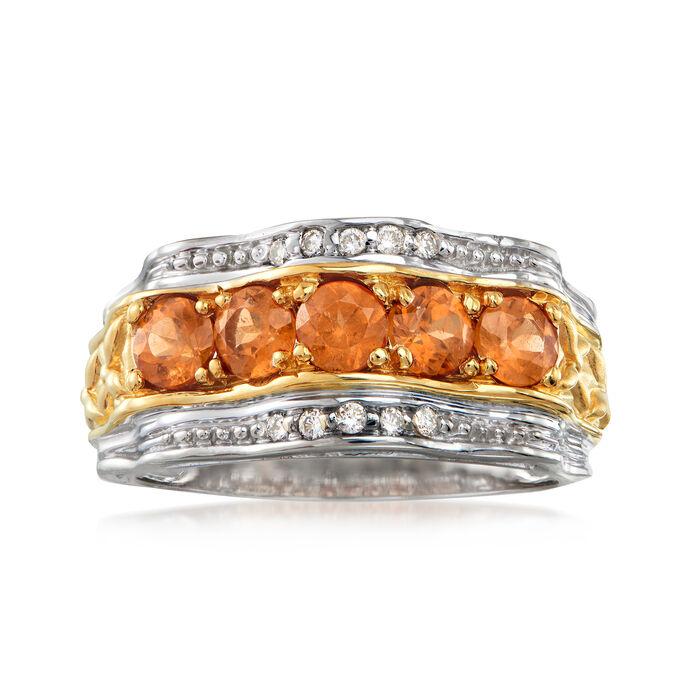 C. 1980 Vintage 1.50 ct. t.w. Spessartine Orange Garnet and .10 ct. t.w. Diamond Ring in 14kt White Gold. Size 8.75, , default