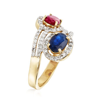 2.20 ct. t.w. Multi-Gemstone and .52 ct. t.w. Diamond Bypass Ring in 14kt Yellow Gold, , default