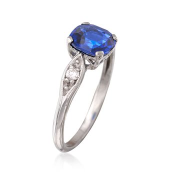 C. 1990 Vintage 1.26 Carat Sapphire Ring with Diamond Accents in Platinum. Size 4.5