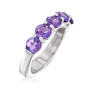 2.10 ct. t.w. Amethyst Five-Stone Ring in Sterling Silver, , default