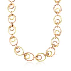 "C. 1950 Vintage 14kt Two-Tone Gold Oval-Link Necklace. 16"", , default"