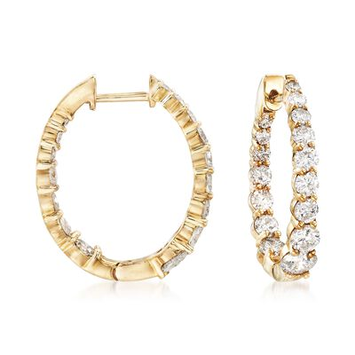 2.00 ct. t.w. Graduated Diamond Inside-Outside Hoop Earrings in 14kt Yellow Gold