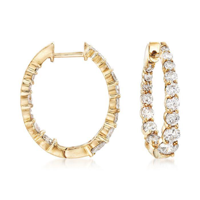 """2.00 ct. t.w. Graduated Diamond Inside-Outside Hoop Earrings in 14kt Yellow Gold. 3/4"""", , default"""