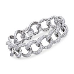 "13.00 ct. t.w. Pave Diamond Large Link Bracelet in 18kt White Gold. 7"", , default"