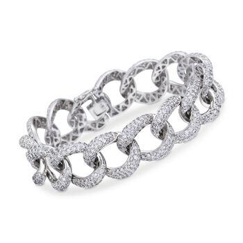 "13.00 ct. t.w. Pave Diamond Large Link Bracelet in 18kt White Gold. 7"", , default"