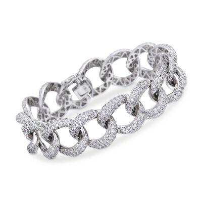 13.00 ct. t.w. Pave Diamond Large Link Bracelet in 18kt White Gold, , default