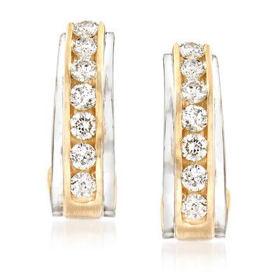 1.00 ct. t.w. Diamond Hoop Earrings in 14kt Two-Tone Gold, , default