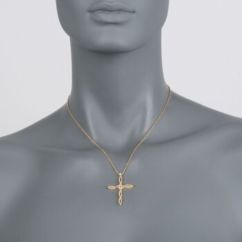 """Roberto Coin """"Barocco"""" 18kt Yellow Gold Braided Cross Pendant Necklace with Diamond Accent. 17"""", , default"""