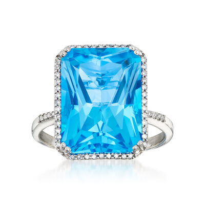 13.00 Carat Blue Topaz and .20 ct. t.w. Diamond Ring in 14kt White Gold