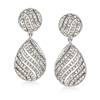 1.00 ct. t.w. Pave Diamond Drop Earrings in Sterling Silver