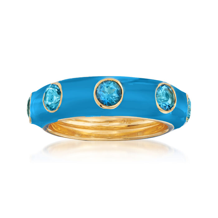 1.50 ct. t.w. Swiss Blue Topaz and Blue Enamel Ring in 18kt Gold Over Sterling