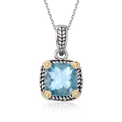 2.45 Carat Blue Topaz Necklace in Sterling Silver and 14kt Yellow Gold, , default