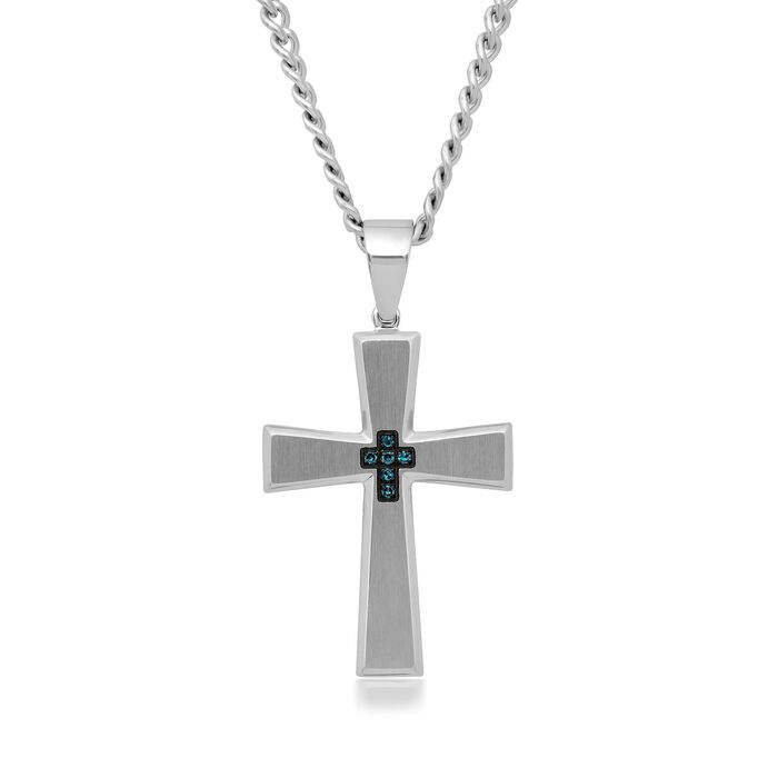 Men's Stainless Steel Cross Pendant Necklace with Blue Diamond Accents. 24""