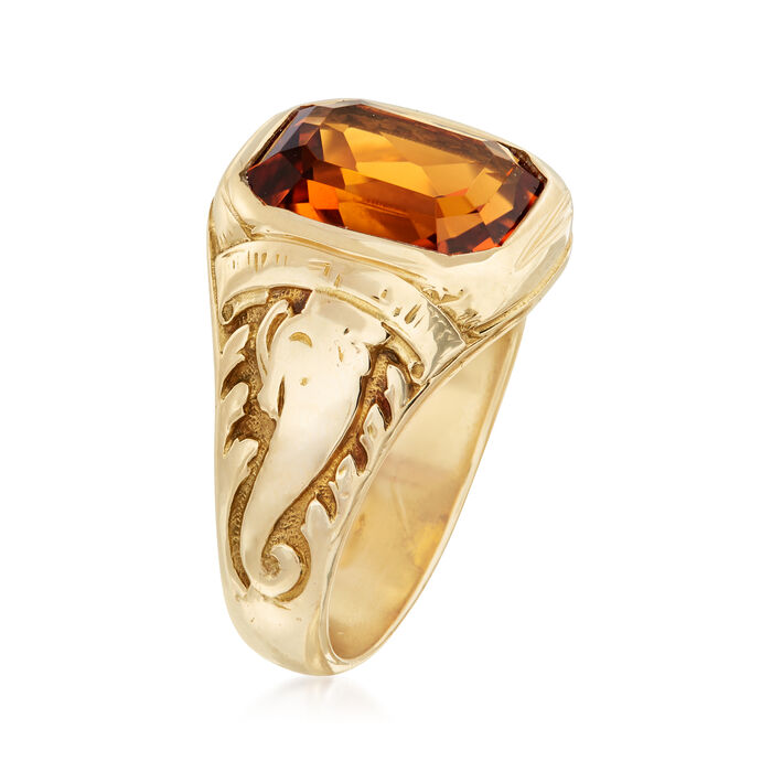C. 1960 Vintage Tiffany Jewelry 3.20 Carat Citrine Ring in 14kt Yellow Gold