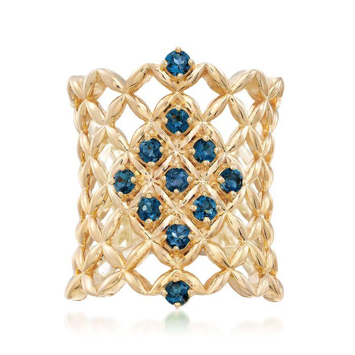 .70 ct. t.w. London Blue Topaz Latticework Ring in 18kt Gold Over Sterling, , default