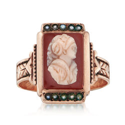 C. 1881 Vintage Cameo and Cultured Pearl Ring in 10kt Yellow Gold, , default