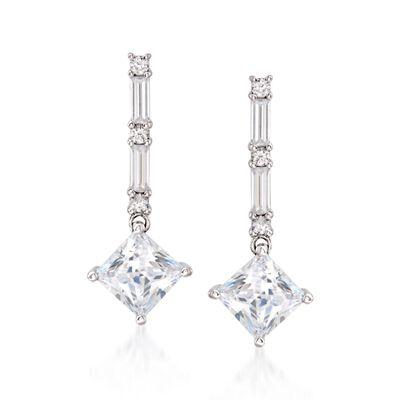3.95 ct. t.w. CZ Drop Earrings in Sterling Silver, , default