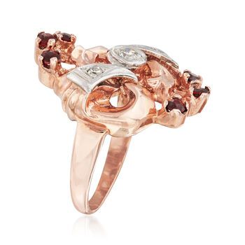 C. 1940 Vintage .40 ct. t.w. Garnet and .10 ct. t.w. Diamond Ring in 14kt Two-Tone Gold. Size 4.5