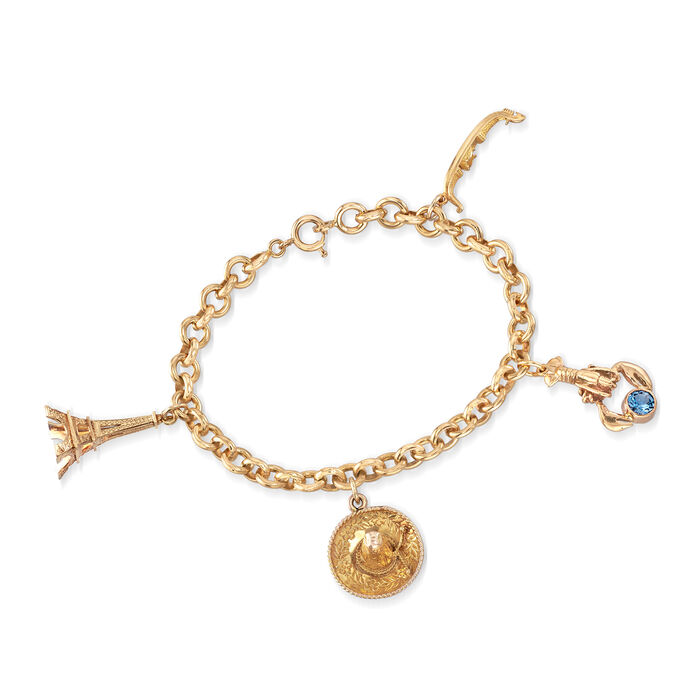 "C. 1980 Vintage .60 Carat Blue Topaz Charm Bracelet in 18kt Yellow Gold. 8.25"""