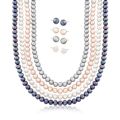 5-7mm Multicolored Cultured Pearl Jewelry Set: Four Necklaces and Four Pairs of Stud Earrings in Sterling, , default