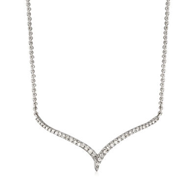 .16 ct. t.w. Diamond Chevron Necklace in Sterling Silver, , default